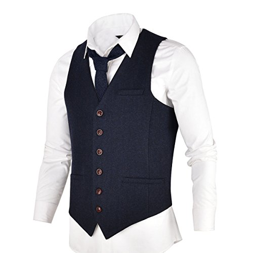VOBOOM Men's Slim Fit Herringbone Tweed Suits Vest Premium Wool Blend Waistcoat (Navy Blue, Large)