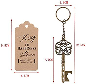 LucaSng 50pcs Key Bottle Opener Copper Vintage with Conversion Cards Guest Gift for Wedding Baby Party Guest Banquet Bar a