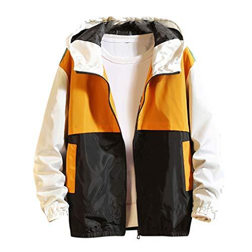 MAYOGO Herren Jacke Windbreaker Outdoor Funktionsjacke Regenjacke Kapuze Sweatjacke Übergangsjacke (Gelb, L/EU:36)
