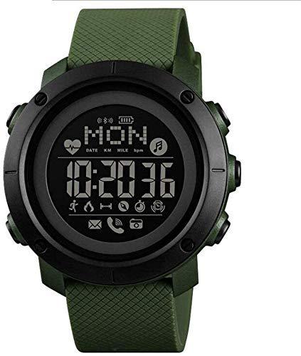 JIAJBG Reloj inteligente deportivo con brújula, resistente al agua, pantalla OLED de gran cara, reloj digital con podómetro, calorías, monitor de ritmo cardíaco, rastreador de fitness, uso diario /
