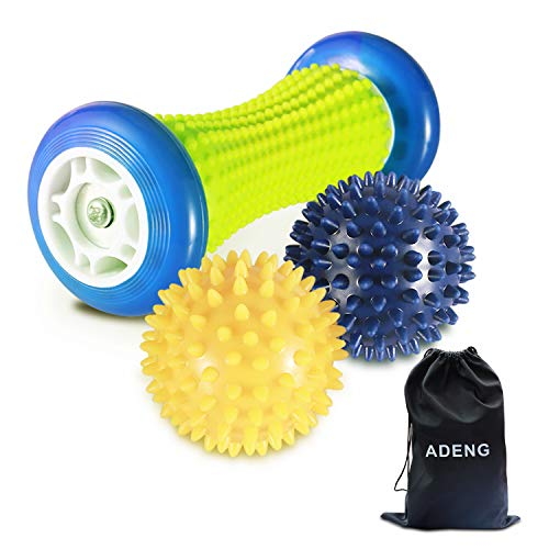 Foot Massage Roller Ball for Plantar Fasciitis - 1 Foot Roller and 2 Spiky Massage Balls Set ; Foot Arch Pain Relief; Deep Trigger Point Therapy; Muscle Recovery; Stress Relief