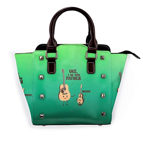 Damen Handtasche mit Einhorn-Motiv und Dinosaurier-Motiv, echtes Leder, für Reisen, Schule, Mini-Handtasche, Pink - Uke I Am Your Father - Größe: Einheitsgröße