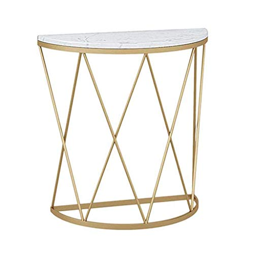 N/Z Living Equipment Side Table Creative Semicircle End Table Against the Wall Corridor Aisle Coffee Table Shelf Iron Art White Marble 80 times;30 times;80cm