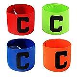 ASEOK Multicolor Fútbol capitán del brazal, Fútbol C Estándar elástico Brazalete para niños, Velcro retráctil, Adecuado para Muchos Tipos de Deportes elásticos brazaletes (4)