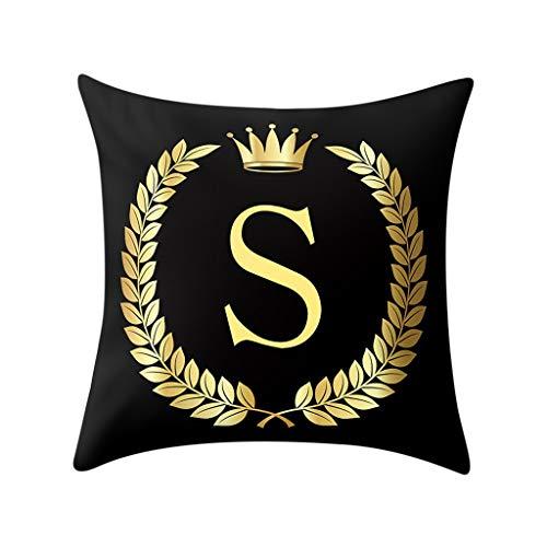 Xmiral Kissenhüllen Bettkissenbezug Polyester Golden Buchstabe Drucken Schwarz Zierkissenbezüge 45x45 cm Einfach Quadratischer(S)