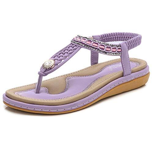 DolphinBanana Women's TStrap Flat Sandals, Glitter Rhinestones Thong Flip Flops Simple Summer Bohemian Low Top No Heel Shoes Shiny Gem Dressy Casual Jeans Daily Wear Beach Vacation, Lilac Purple 6.5-7