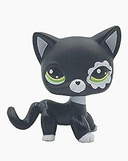 Xhren Cute Rare Black Cat Green Eyes Flower Patch Kids Toy Littlest Pet