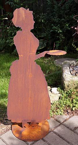 Unbekannt Rostalgie Edelrost Madame mit Tablett 80 cm, inkl. Herz 8x6cm Figur Frau Skulptur...