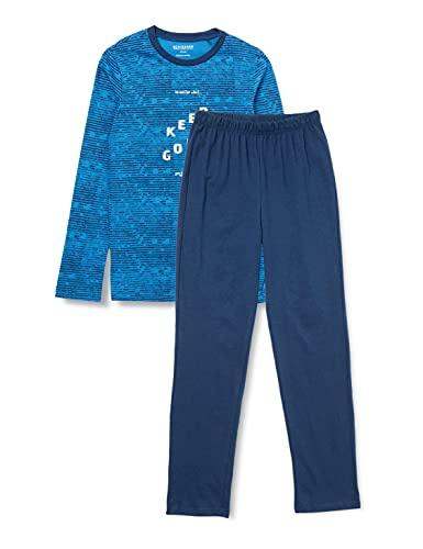 Schiesser Jungen Schlafanzug kurz Pyjamaset, blau, 164