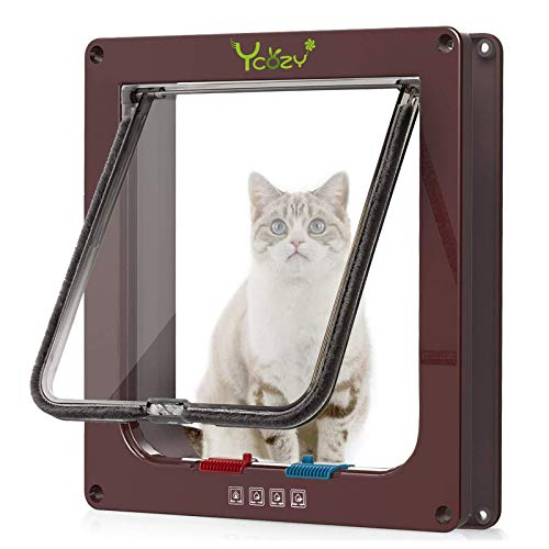 Ycozy ペットドア 犬猫出入り口 4way切替 ロック キャットドア 室内用 犬猫用ドア 取り付け簡単 猫扉 冷暖房対策 中小型猫/小型犬用 | 茶色 L