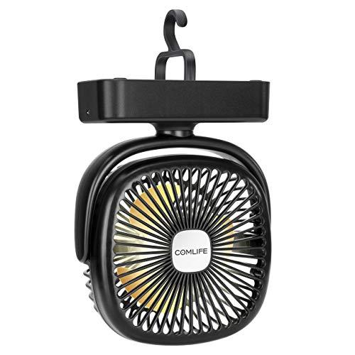 COMLIFE mini USB Ventilator, Tischventilator mit Led Licht| 4400 mAh Batterie| Einstellbare Geschwindigkeiten, Campinglüfter mit Hängehaken für Büro,Garage, Wohnmobil,Zelt | Tischlüfter