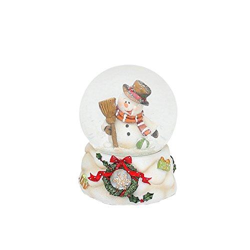 Dekohelden24 Kleine Schneekugel mit Schneemann und weisser Sockel mit Kranz, L/B/H 6,5 x 6,5 x 10 cm Kugel Ø 6,5 cm.