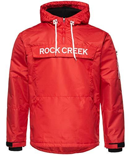 Rock Creek Herren Windbreaker Jacke Übergangsjacke Anorak Schlupfjacke Kapuze Regenjacke Winterjacke Herrenjacke Jacket H-167 Rot 4XL