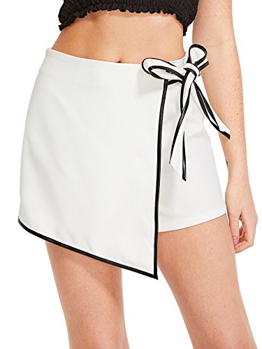 WDIRARA Women's Casual Asymmetrical Hem Wrap Skirts Shorts Mid Waist Plain Skorts White S