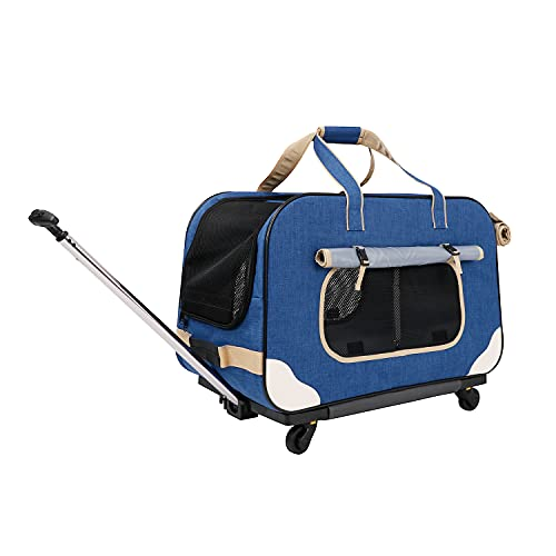 GJEASE Pet Carrier with Wheels,Pet Dog Carrier Travel with Durable Mesh Panels,Collapsible and Breathable Shoulder Bag Travel Carrier for Small & Medium Dogs/Cats up to 39 Pounds