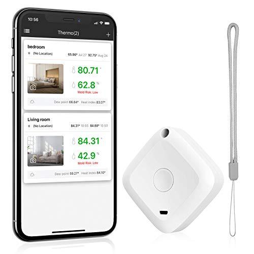 Brifit Bluetooth Thermometer Hygrometer, Kabelloses Mini Thermometer Hygrometer mit Hohen Genauigkeit, Thermometer Innen mit APP, Datenspeicherung für Hausgarage, Gewächshaus, Weinkeller, Büro