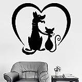 Perro gato amigo calcomanía de pared salón de aseo de mascotas animal amor corazón vinilo etiqueta de la ventana dormitorio de los niños vivero decoración del hogar arte