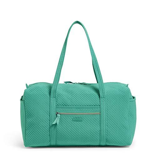 Vera Bradley Microfiber Large Travel Duffle Bag, Peacock Blue