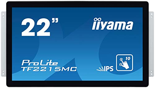 iiyama Prolite TF2215MC-B2 54,6cm (22 Zoll) IPS LED-Monitor Full-HD Open Frame 10 Punkt Multitouch kapazitiv (VGA, HDMI, DisplayPort, Audio Out, USB für Touch, IP65) schwarz
