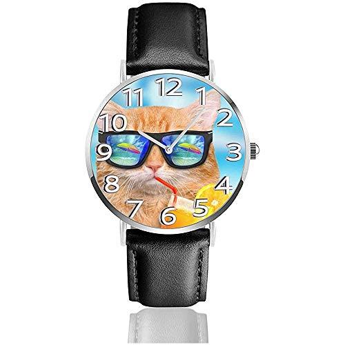 Gato con Gafas de Sol Beber Jugo de limón Reloj de Cuero Relojes de Pulsera de Cuarzo Relojes de Pulsera de Cuero Unisex