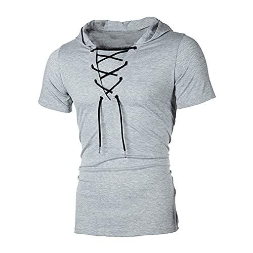 NP Homme Summer Personality T-shirt à capuche et manches courtes à lacets Coupe ajustée, Gris 1, XXL