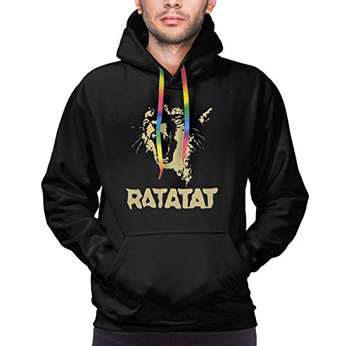 Men's Ratatat Wildcat Casual Long Sleeve Sweatshirt Hoodie Pullover Black,XX-Large