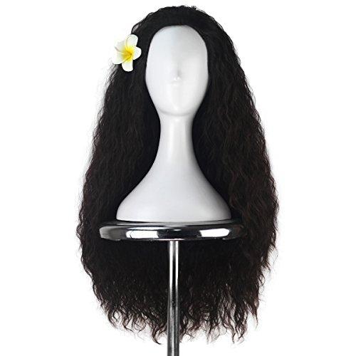 Women 80cm Long Kinky Curly Hair Movie Cosplay Costume Wig Halloween Adult Kids (Dark Brown)
