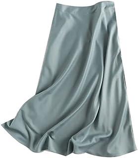 Hanyuemin تنانير متوسطة الطول للنساء ساتان الخصر في المدرسة الثانوية غير مشكلة أنيقة تنورة طويلة للنساء، تنانير (المقاس: S)