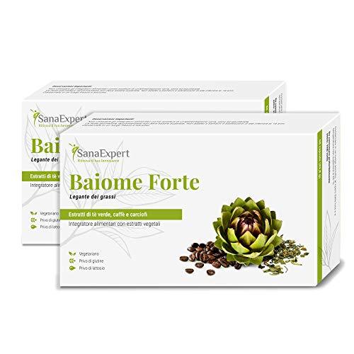 PACK 2 | SanaExpert Baiome Forte| INTEGRATORE DIMAGRANTE BRUCIA GRASSI | con estratto di carciofo, estratto di semi di caffè verde e tè verde (120 capsule). Ingredienti vegani 100% naturali.