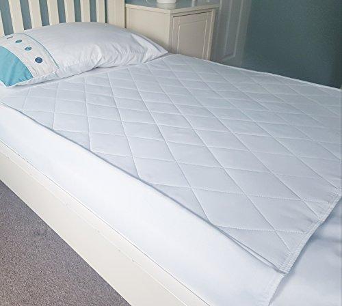 Wasserdichte Betteinlage (2er-Pack) von GuardedSleep | Waschbares Pad in Premium-Qualität für Erwachsene oder Kinder mit Inkontinenz | Wiederverwendbare Bettnässmatte für Einzelbetten | Diskretes Weiß
