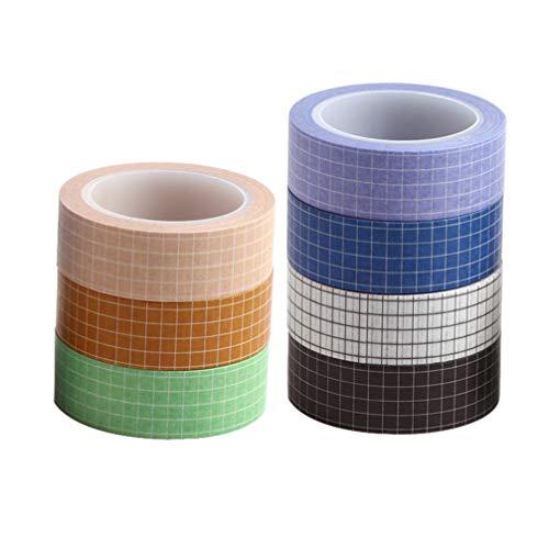 Toyvian 7 Piezas de Cuadrícula Washi Tape Set Cintas Adhesivas de Papel Adhesivas para Bricolaje Decoradores Planificadores Scrapbooking Adhesivo Suministros para Fiestas Escolares (Colores Mezclados)