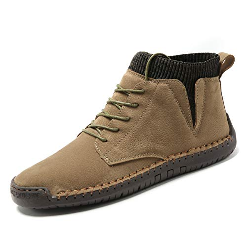 Shaire Mens Casual Work Boots Lace-up Boots Hand-Sewn Outdoor Work Shoes for Men