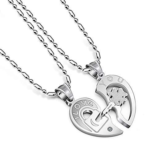 Collar De Acero Inoxidable para Parejas Yin Yang Lock and Key Heart Colgante Cadena para Amantes, Collar para 2,2