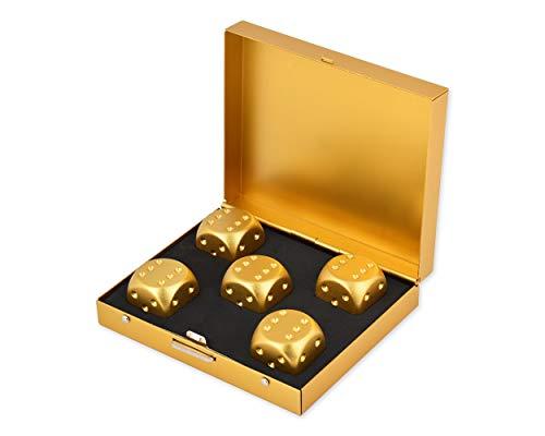 SCSpecial Aluminiumlegierung Würfel 5 Stück 16mm tragbare Würfel mit Metallgehäuse 6 seitige Würfel zum Trinken Party Game - Golden