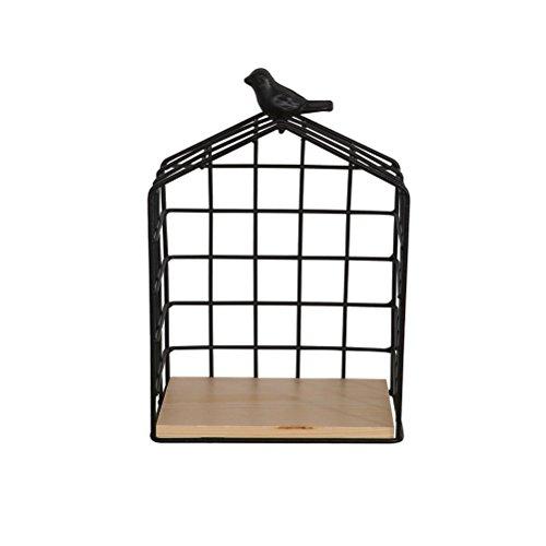 WLH- Life Grocery Vogels Set Basket Irons Storage Basket Wall Mount rekken (15.5x9x23cm)