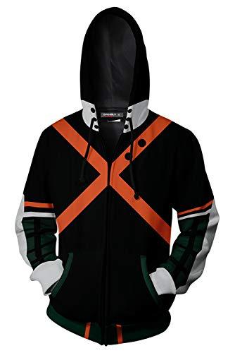 My Hero Academia Bakugou Katsuki Hoodies Sweatshirt Cosplay Costume Zip-up Jacket (Medium, Black)