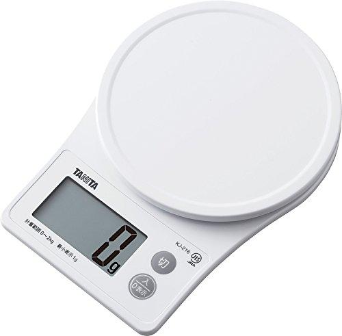タニタ キッチンスケール はかり 料理 デジタル 2kg 1g単位 ホワイト KJ-216 WH すぐにピタッとはかれる