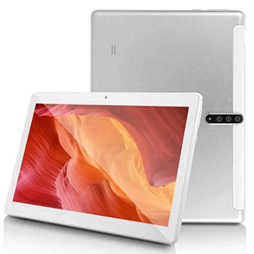 10 inch Android Tablet PC with Octa Core CPU,4G ROM 64G ROM,HD IPS Screen, SIM Card Slot Unlocked, 5G-WiFi GPS Bluetooth Tablet,P9 (Silver)