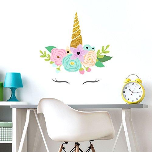 Stickerscape Corno di Unicorno Glitterato Adesivi murali | Adesivi murali Unicorno | Adesivi murali per Bambini