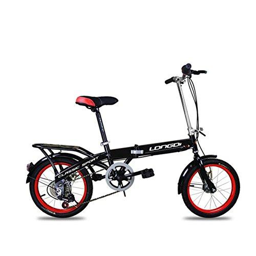 XQ Vélo Pliant pour Enfants 16 Pouces Adulte Vitesse 6-Variable Amortissement Hommes Et Femmes Vélo Étudiant (Couleur : Noir)