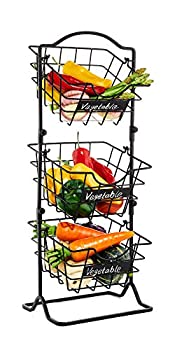 """Befano Fruit Basket 3 Tier Metal Stackable Wire Fruit Basket 25.8   Height Vegetable Basket Stand Organizer with Chalk Label for Kitchen Storage Countertop Antique Black 8.2""""x8.2"""""""