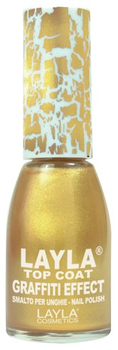 Layla Cosmetics Top Coat Graffiti Nagellack, gold, 1er pack (1 x 0.01 L)