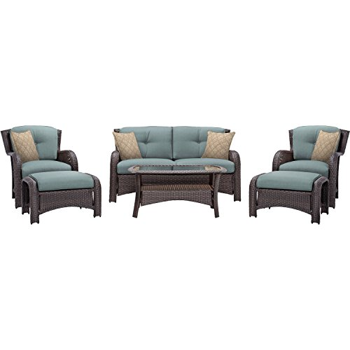 Hanover Strathmere 6-Piece Outdoor Patio Conversation Set, 2 Side Chairs with Ottomans, Loveseat and Tempered Glass Coffee Table, with Hand-Woven Wicker and Thick Ocean Blue Cushions, STRATHMERE6PCBLU
