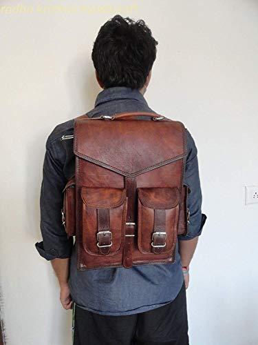 Alaska exports, zaino in pelle marrone vintage per computer portatile, borsa a tracolla, per uomo e donna