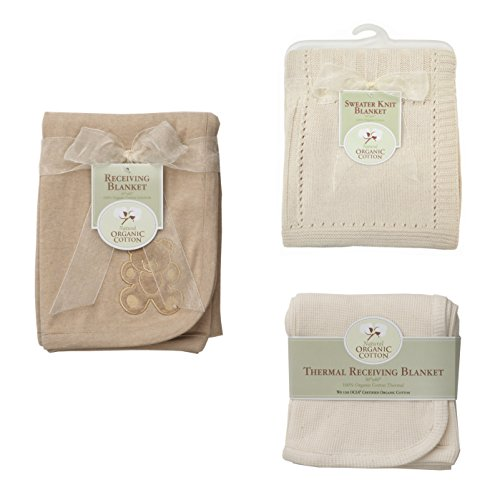 American Baby Company Bundle, Organic Cotton, Set of 3, 1 Sweater Knit Blanket, 1 Receiving Blanket and 1 Thermal Receiving Blanket Set