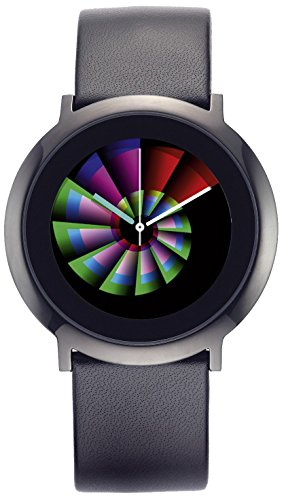 Serie ONE Snail schwarz Leder, COLOUR INSPIRATION, Unisex Armbanduhr, Edelstahl, Armband:Edelstahl Clip Armband Leder, Durchmesser:40 mm, Breite Armband:20 mm