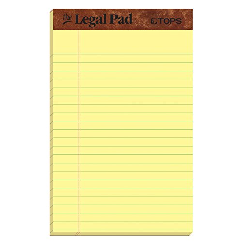 TOPS The Legal Pad Writing Pads, 5' x 8', Jr. Legal Rule, Canary Paper, 50 Sheets, 5 Pack (75017)