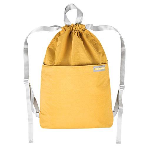 Micv ナップサック スポーツバッグ ジムサック 折りたたみ 防水仕様 巾着袋 軽量 通学・運動・旅行に最適 アウトドア 収納バッグ 男女兼用 (イエロー)