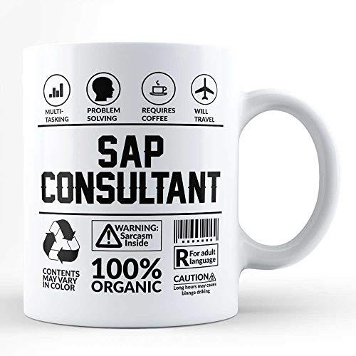 Lustige Sarkasmus-Tasse/Geschenk für Sap Consultant Beruf Job Humor Typografie Black Coffee Mug von HOM