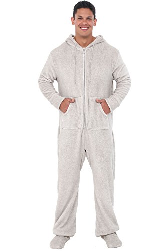 Alexander Del Rossa Men's Warm Fleece One Piece Footed Pajamas, Adult Onesie with Hood, Large Vintage Heathered Light Gray (A0320HGRLG)